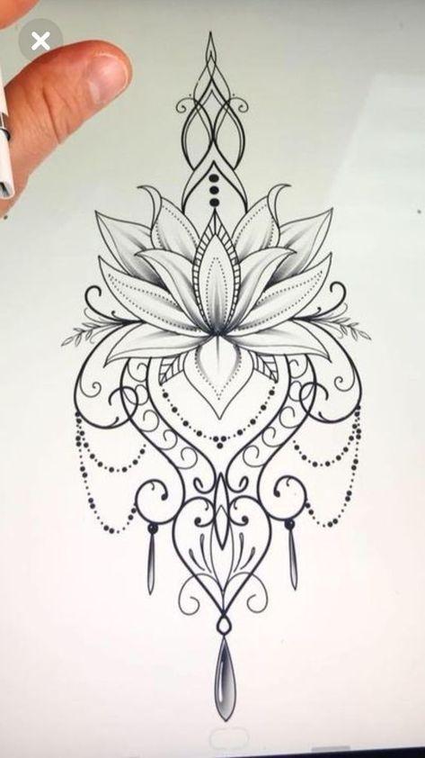 desenho tatuagem flor lotus