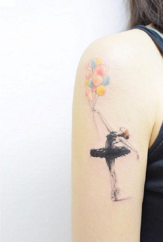 tatuagem bailarina colorida