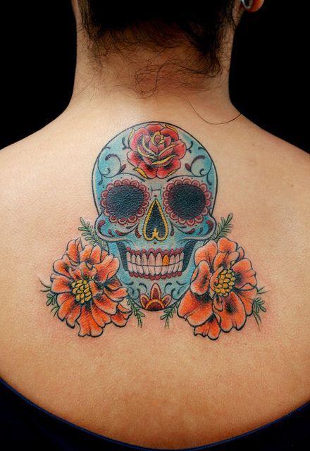 tatuagem feminina caveira 1