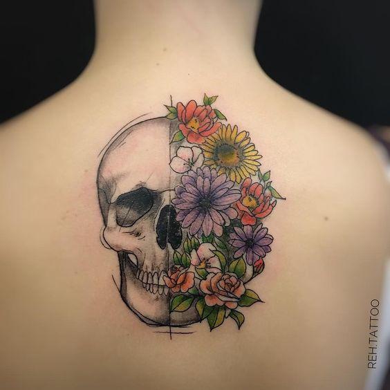 tatuagem feminina caveira 6