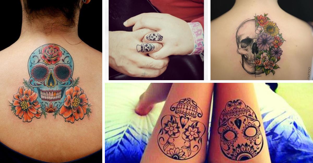 tatuagem feminina caveira