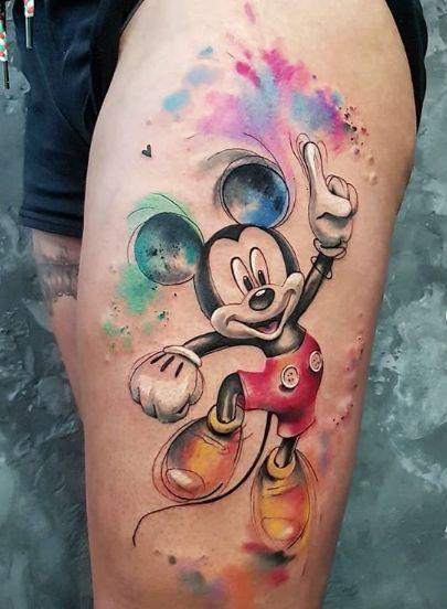 tatuagem mickey aquarela