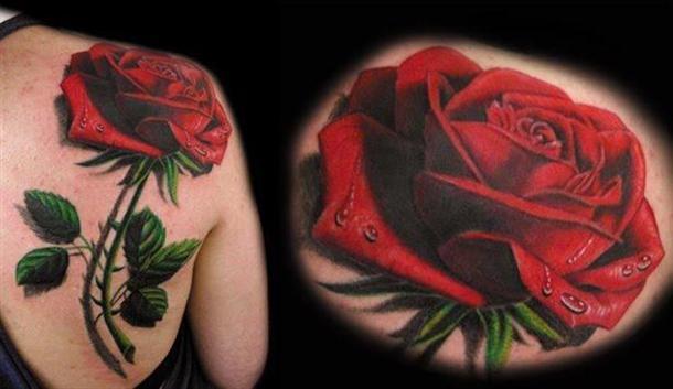 tatuagens-3d-rosa-vermelha-no-ombro