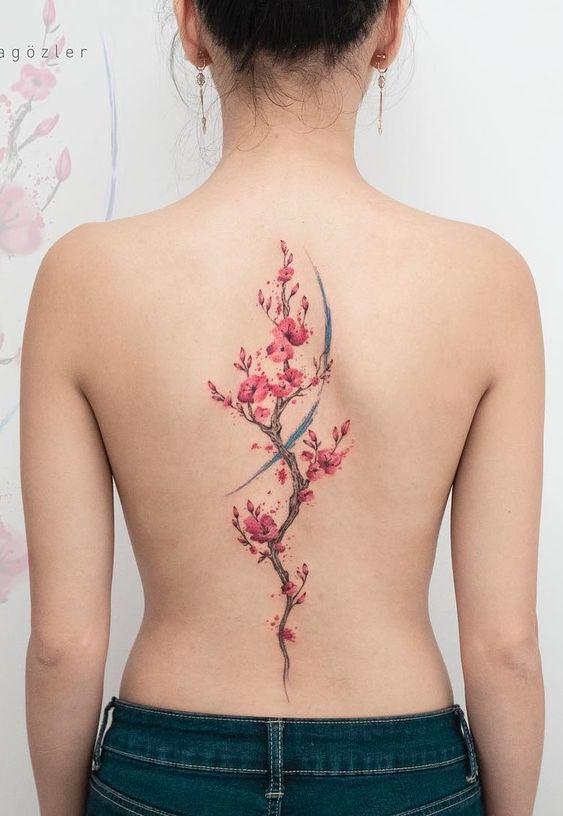 tatuagens costas animais flores