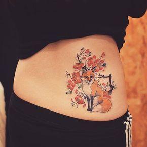 tatuagens costas animais raposa