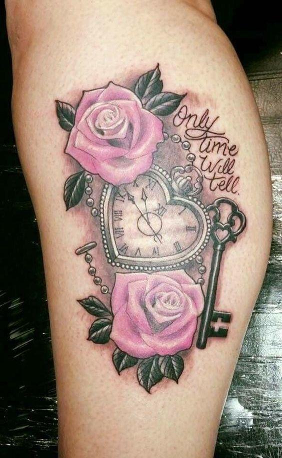 tatuagens relogios coracao rosa